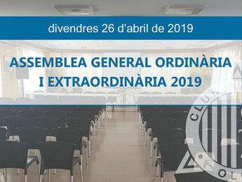 Convocatòria Assemblea General Ordinària i Extraordinària 2019