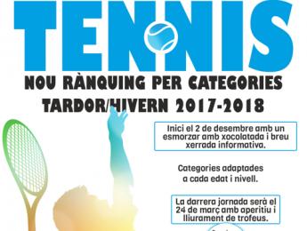 Presentem el nou rànquing de tennis del CNO per aquesta tardor / hivern 2017-2018.